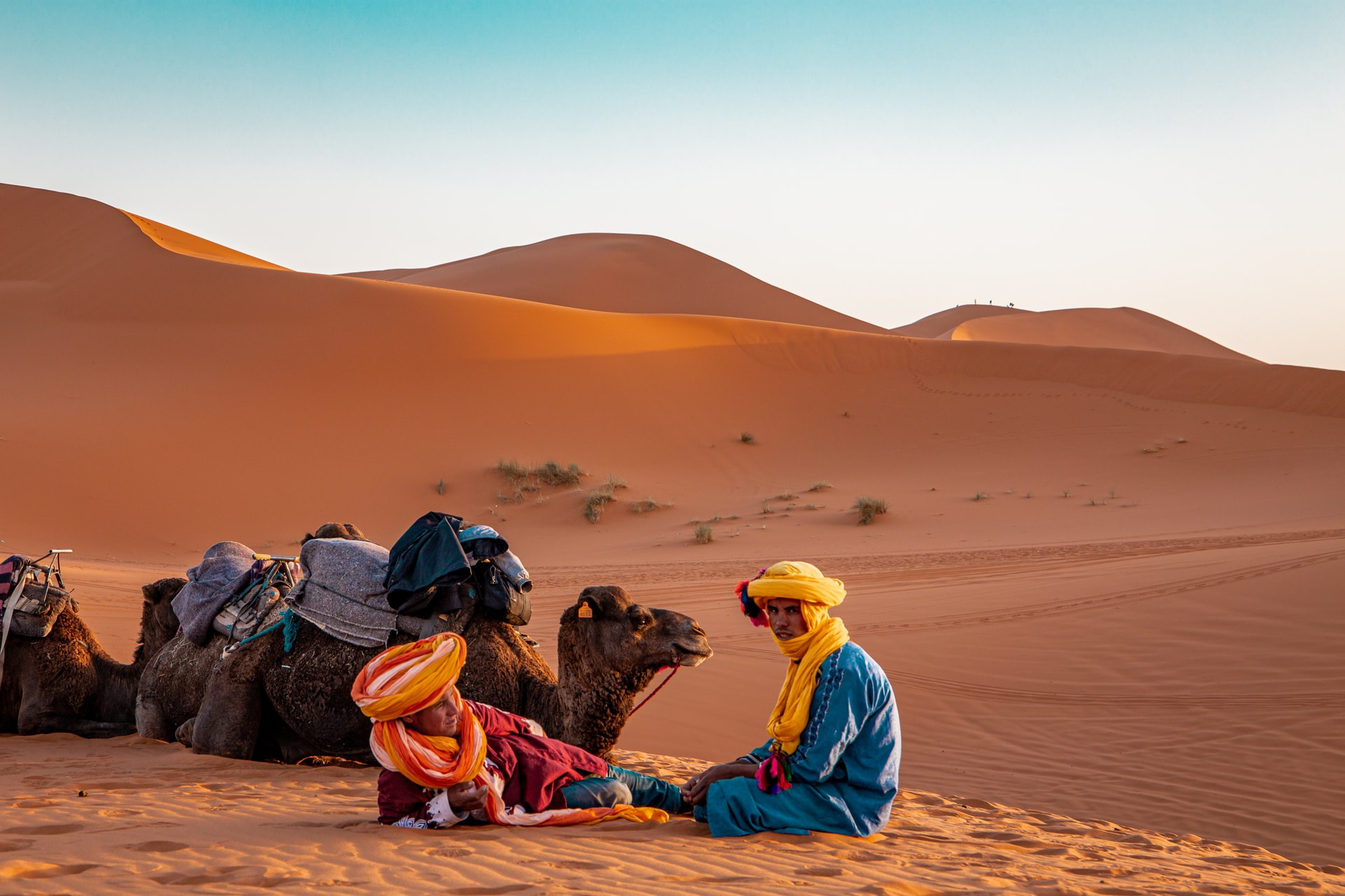 Sunset in the dunes of Merzouga